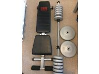 PRO POWER BENCH, 2X 10KG & 12X 2.3KG WEIGHTS. GREAT CONDITION