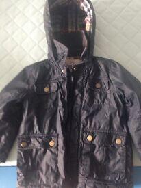 Boys Monsoon wax coat jacket navy age 3-4
