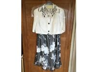 "CONDICI Size 20 Cream & Black Silk Beaded Jacket & Dress - ""Spellbound"" Style"