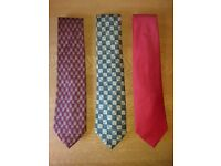 Marks & Spencer Burgandy, Red & Green Patterned Silk Ties As New Condition £2 Each