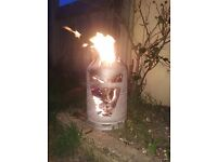 Used gas bottle log burner