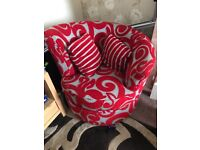 Red and grey swivel arm chair living room bedroom furniture