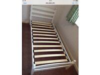 White 3ft Single Bed Solid Wooden Slatted Frame - Bedroom Furniture Bed