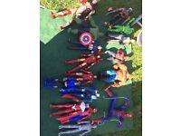 Set of large marvel/superhero Figuers