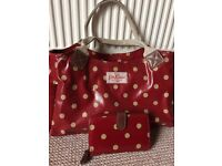 Cath kidston handbag with matching purse , red oilskin with cream spots