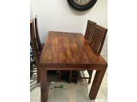Dining table solid mango wood table and 6 chairs