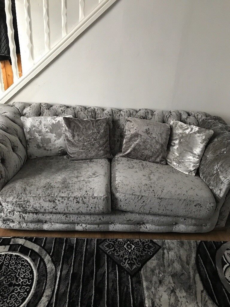 Crushed velvet sofa and cuddle chair