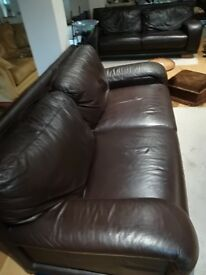 Large 3/4 Seater Leather Sofa's x 2