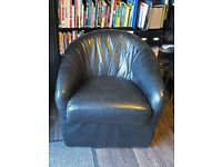 Black Leather Tub Chair