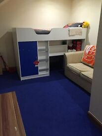Kids Cabin Bed with integrated wardrobe and desk