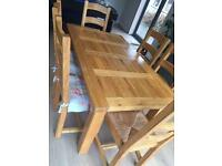 Halo extendable solid pine table and 6 chairs
