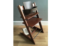 Stokke Tripp Trapp High Chair, Walnut, VG condition, complete with all accessories & instructions.