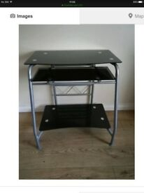 Black glass computer table
