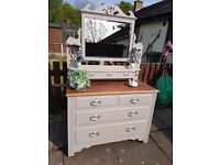 Beautiful Antique solid mahogany Shabby Chic Chest of Drawers Dressing Table Farrow & Ball