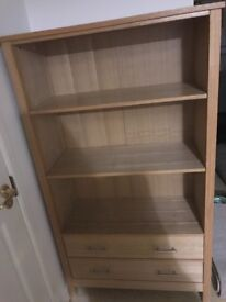 Free solid oak book shelf. One draw damaged on inside but can tell when closed. Needs a van
