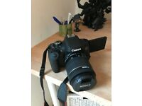 CANON E0S 750D DIGITAL SLR CAMERA WITH WATERPROOF CAS, 64 GB MEMORY CARD & TRIPOD - ONLY £400