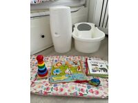 Baby bundle - angelcare nappy bin, tippItoes bath, mamas and papas change mat, baby book and toys