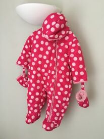 Pink polka dot Baby Snowsuit from M&S 9-12 months