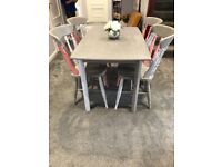 Retro hand painted table and 4 chairs