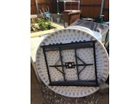 Round garden table and chairs