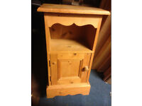 antique bedside table in real pine wood with a drawer