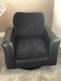 Leather lazy black chair