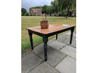 Large rustic farmhouse dining/kitchen table. Charcoal distressed/shabby chic/local delivery