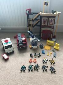 Imaginext fire station with fire engine, ambulance and helicopter