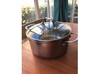 Copper bottom stainless steel saucepan