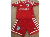 Cardiff city football kit - childrens size xs