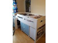 High Sleeper Bed Frame With Book Unit And Chest Of Draws