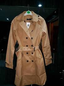 New with tags camel coloured coat rain mac size 10