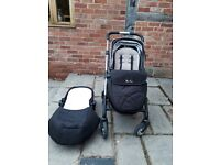 Silver Cross Wayfarer pram and pushchair in black and chrome complete with hood and apron pack