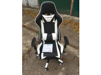 Gaming Chair Sports Racing Executive Computer Recliner Faux Leather White-black