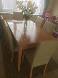 Dining table 6 leather chairs