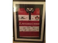 Gloucester rugby jersey signed and framed