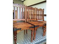 3 Lovely Solid Wood Indian Jali Chairs. Excellent Condition.