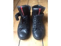 Prada men's shoes high top leather trainers black size 8.5 UK