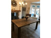 Large Solid Wood Rustic Dining Table