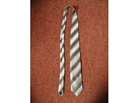 Mens M&S Collezione Italy Pale Blue Pale Brown and Grey Striped Tie 100% Silk Gift Idea