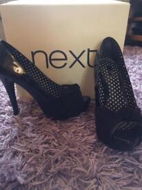 Next black peep toe shoes size 5