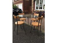 JOHN LEWIS GLASS DINNING TABLE WITH 4X CHAIRS!!