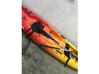 2 man kayak with paddles and seats and trolley