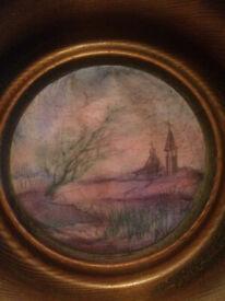 Russian silk painting in circular wooden frame: 'Evening Prayer', Marina Shuvalova 1993