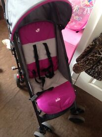 Pink and grey joie buggy