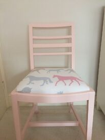 Stunning chair up cycled painted in soft pink and finished with Clarke and Clarke fabric