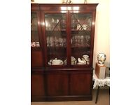 Mahogany Veneer Glass Display Cabinet Dresser Unit vintage