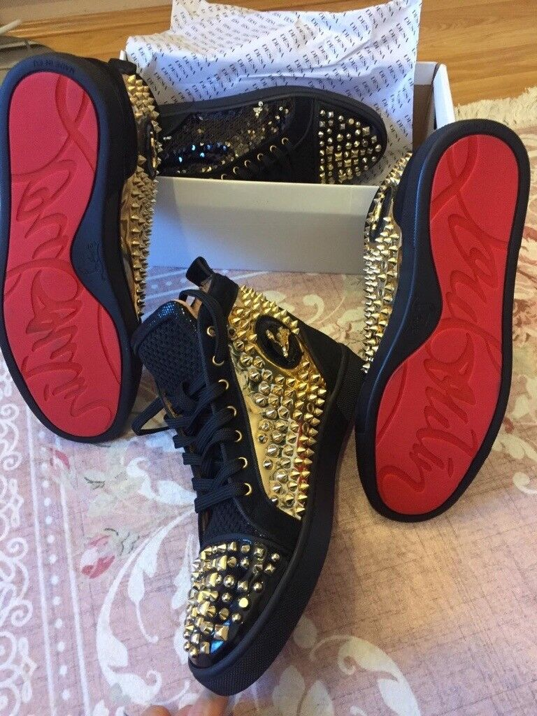 8e88493aed7 NEW Christian Louboutin Louis Black and gold Spikes High-Top Sneakers | in  Hoxton, London | Gumtree