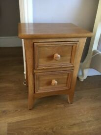 2 Drawer Pine Bed Side Table Chest Drawers