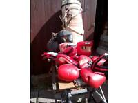 Punch bag,leather punch ball,mitts,gloves,weights,head protection.